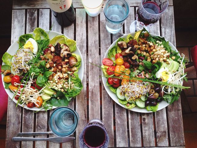 Food And Drink Freshness Salad Healthy Eating Ready-to-eat Food Drink No People Vegetable Table Plate Organic Food Red Wine
