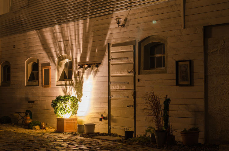 Building Building Exterior Light And Shadow Luminous Night Night Photography Rural Shadows