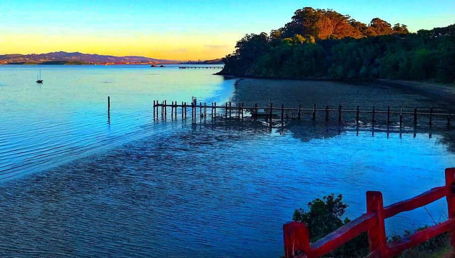 China Camp Low Tide Water Sky Beauty In Nature Scenics - Nature Sea Nature Tree Outdoors Nautical Vessel Railing Tranquility Tranquil Scene Sunset Plant Idyllic Land Beach Non-urban Scene No People