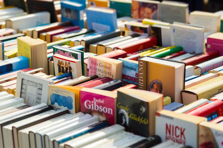 Full frame shot of books on shelf