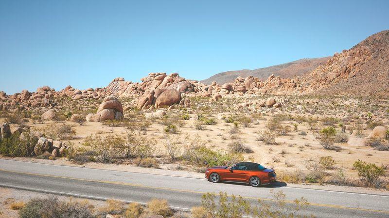 The Drive through Joshua Tree , Empty Road / Mustang / Rocks / Blue Sky