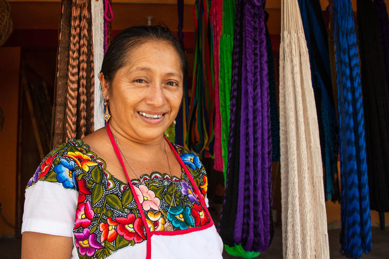 International Women's Day 2019 Smiling One Person Happiness Adult Traditional Clothing Females Real People Beautiful Woman Cheerful Waist Up Multi Colored Mexico Mexican Indigenous  Woman Portrait Travel Hispanic Latina Handmade Mayan Authentic Moments Looking At Camera Weaving