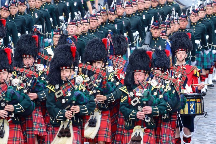 Enjoy The New Normal Large Group Of People People Outdoors Crowd Adult Adults Only Day Scotland Army Pipers Pipers Parade