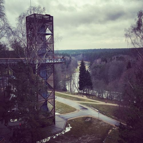 Tree Sky Day Built Structure Nature No People Architecture Outdoors Lithuania Park Anyksciai Tower Metal Structure Metal Construction Watch Tower Watching Climbing Winter Forest Treetop Path Tree Path Treetop Treetopwalk Water River