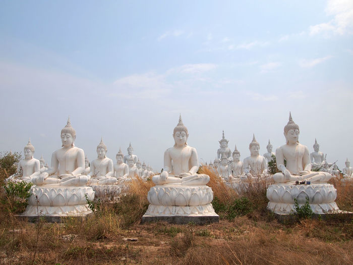 Buddha statues against sky on field
