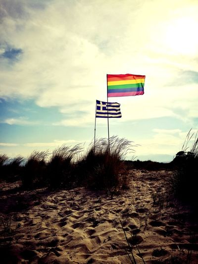 Flags Sky Summer ☀ GREECE ♥♥ Nodiscrimination Beachphotography LGTB Cloud - Sky Sky Beach Outdoors Sand Day No People Nature