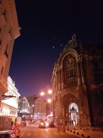 Night Illuminated Travel Destinations Architecture No People Outdoors City Bucharest, Romania Downtown District Financial District  National Library National Bank Night Lights Works