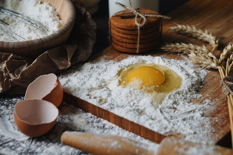 Baking cookies Bakery EyeEmNewHere Baking Cookies Baking Egg Food And Drink Food Flour Indoors  Freshness Still Life Ingredient Healthy Eating Preparation  No People Wellbeing Table Rolling Pin Kitchen Utensil Egg Yolk