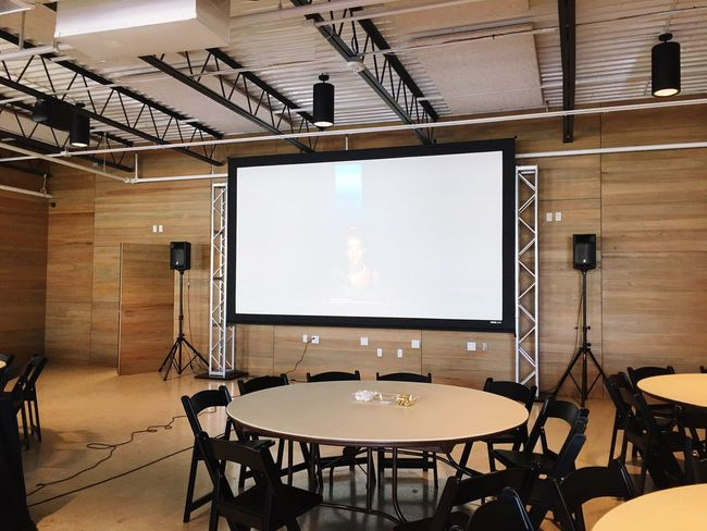 A/V Before Av Audio Equipment Visual Meeting Space Business Conference Room Austin Tables Speakers Presentation