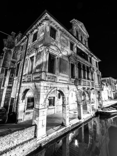Architecture Built Structure Chioggia, Italy Close-up Illuminated Italy Night No People Outdoors Reflection Reflections Water
