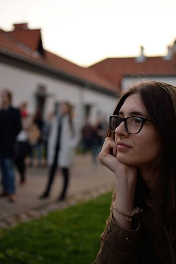 Beautiful Woman Contemplation Eyeglasses  Focus On Foreground Glasses Headshot Incidental People Leisure Activity Lifestyles Looking One Person Outdoors Portrait Real People Teenager Women Young Adult Young Women Visual Creativity The Portraitist - 2018 EyeEm Awards International Women's Day 2019