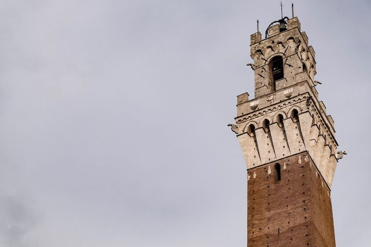 Low angle view of bell tower