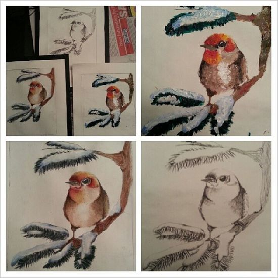 Final three etches. One done with the plan etching ink, watercolour, and acrylic with a impasto affect. Impasto Watercolor Acrylic Bird etching artAP art artist canadianlife canada three