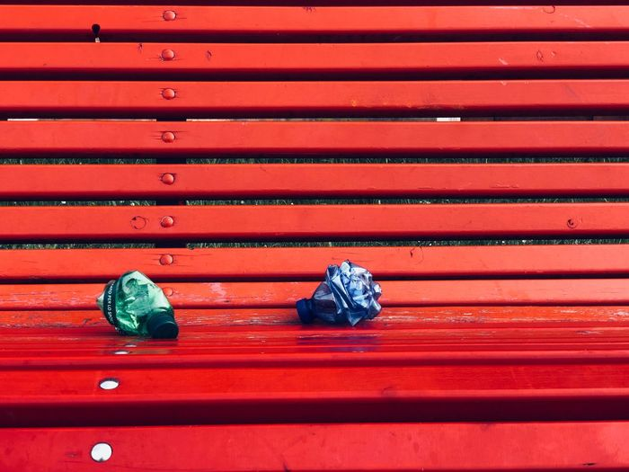 Green Blue Rubbish Waste No People Red Day Indoors  Pattern High Angle View Close-up Wood - Material Art And Craft Still Life Multi Colored In A Row The Street Photographer - 2018 EyeEm Awards Summer Road Tripping
