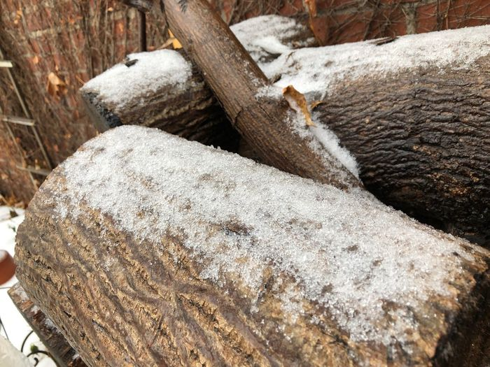 Logs covered in snow natural background winter EyeEm Selects Snow Winter Cold Temperature Nature No People Day Wood - Material High Angle View Close-up Log Timber Outdoors Frozen Wood Land White Color