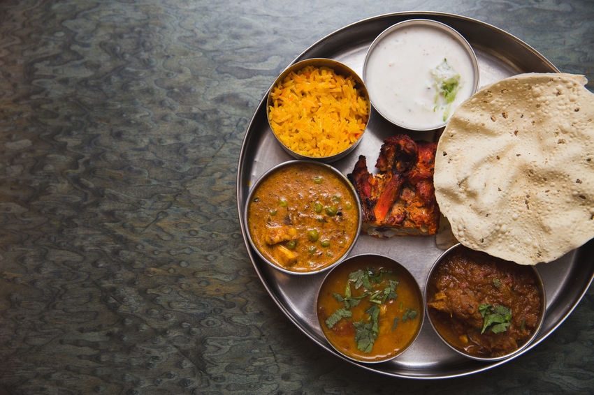 Indian food set Bowl Chicken Tandoori Close-up Day DIP Directly Above Food Food And Drink Freshness Healthy Eating India Indian Food Indoors  Mutton Curry Nan No People Papadum Plate Pulao Rice Raita Ready-to-eat Subji Table