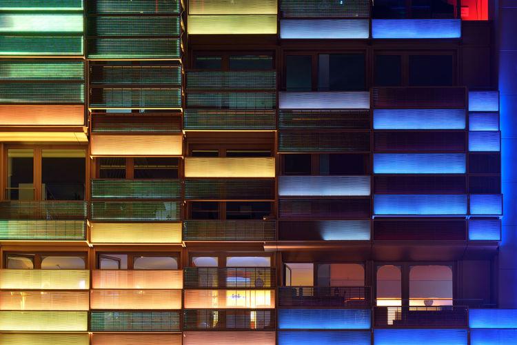 Equalizer Architecture Night Geometry City Modern Urban Light Façade Building Germany Window Illuminated Hamburg Europe Pattern Reeperbahn  No People Multi Colored Building Exterior Built Structure Deutschland DE276_HAMBURG_AK DE276_GERMANY_AK