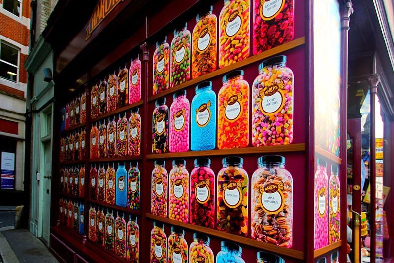 Full frame shot of multi colored candies in store