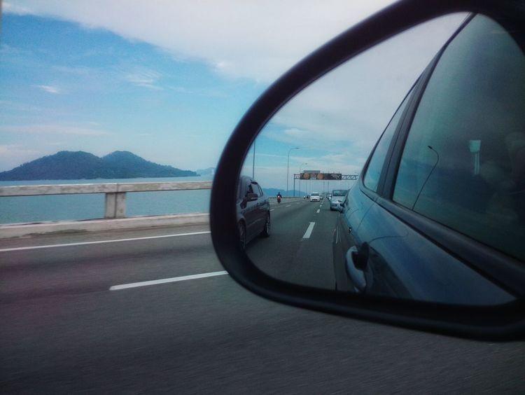 High Way Mirror Reflection Mirror Shot Mountain Sea And Sky Car Mirror View Penang Photography Penang Malaysia