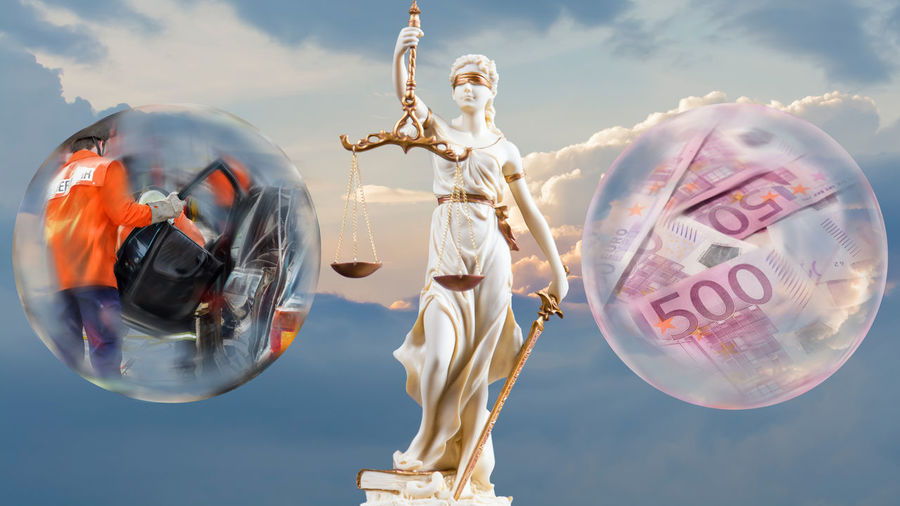 Justice figure in front of sky, glass sphere with accident and glass sphere with a lot of money Court Crystal Ball Guilt A Lot Of Money Accident Accusation Administration Of Justice Cloud - Sky Conceptual Criminal Law Execution Fireman Glass Sphere Judgment Justice Law Legal Quarrel Money Panorama View Process Right Statue Traffic Accident Traffic Right Uncertainty