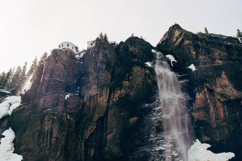 Colorado Telluride Beauty In Nature Clear Sky Cliff Cold Environment Formation Height High Land Landscape Mountain Mountain Peak Mountain Range Nature Outdoors Rock Scenery Sky Snow Travel Water Waterfall