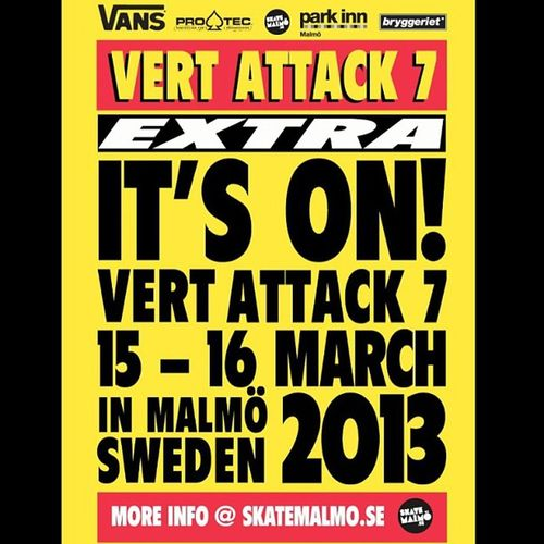 Vertattack 7 will be en fuego this weekend in Malmo Sweden with Vert Skateboarding by some of the worlds best. Vertisnotdead skatevert watch the live webcast starting early Friday and Saturday morning (8 hours ahead of CA time) at www.skatemalmo.se