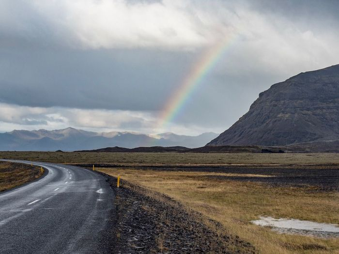 Road Rainbow Scenics Mountain Nature Beauty In Nature Double Rainbow Outdoors The Way Forward Transportation Landscape Cloud - Sky Day Tranquil Scene Sky Tranquility Mountain Range No People