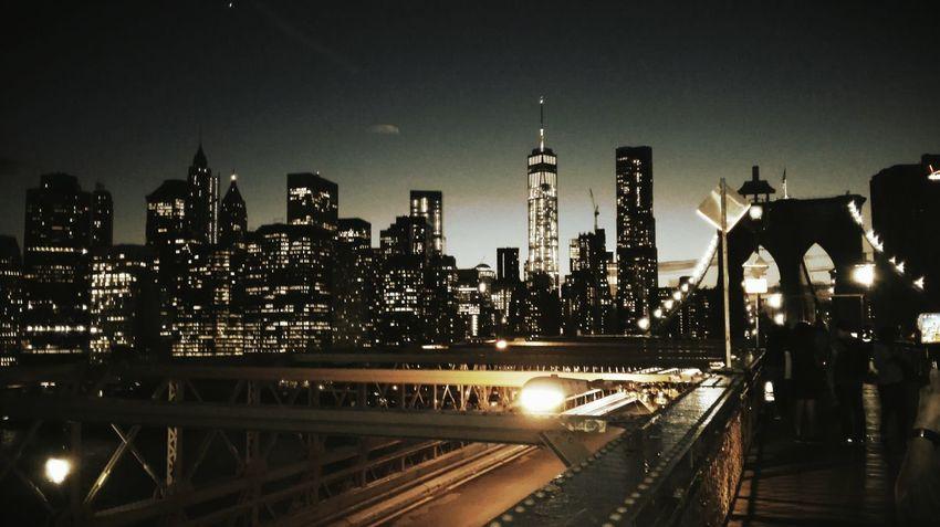 New York Skyscraper Urban Skyline Night Travel Illuminated Brooklyn Bridge / New York City Life Architecture Modern Business Finance And Industry Huawei Honor American Dream... Manhattan