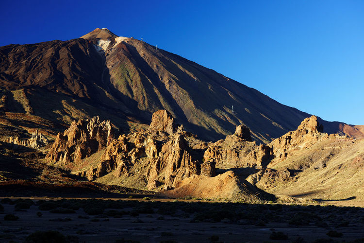 Scenic View Of Rocky Mountains At El Teide National Park Against Clear Sky