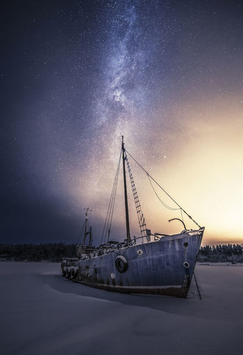 Abandoned Colors Finland Milky Way Night Nightphotography No People Outdoors Sea Ship Star - Space Stars Winter