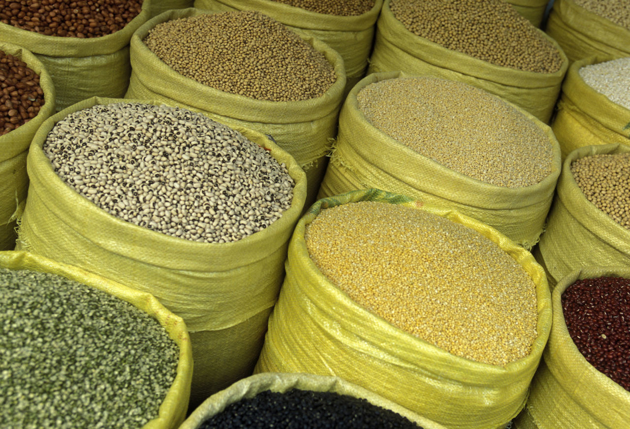 High Angle View Of Lentils For Sale