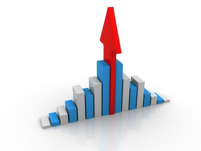 Three dimensional graph with arrow symbol over white background