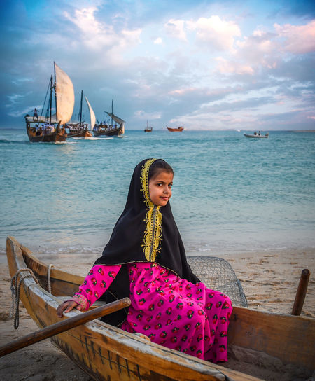 Traditional Bearings Festival, Doha, Qatar for fishing and pearl Katara Cultural Village Qatar Doha,Qatar Cultures Culture Hertitage Travel Tourism Arab Gulf Water Sea Sky Real People Beauty In Nature Lifestyles Scenics - Nature Nature Transportation Clothing Beautiful Woman