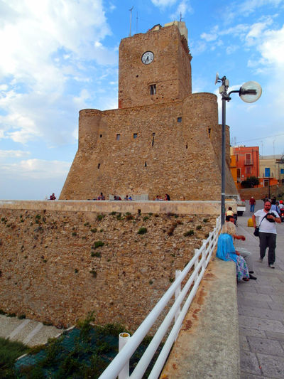 View of the castle of Termoli Termoli  Architecture Building Exterior Built Structure Clock Clock Tower Cloud - Sky Clouds And Sky Heritage Building History Italy Molise Outdoors Termoli City Tower Travel Destination