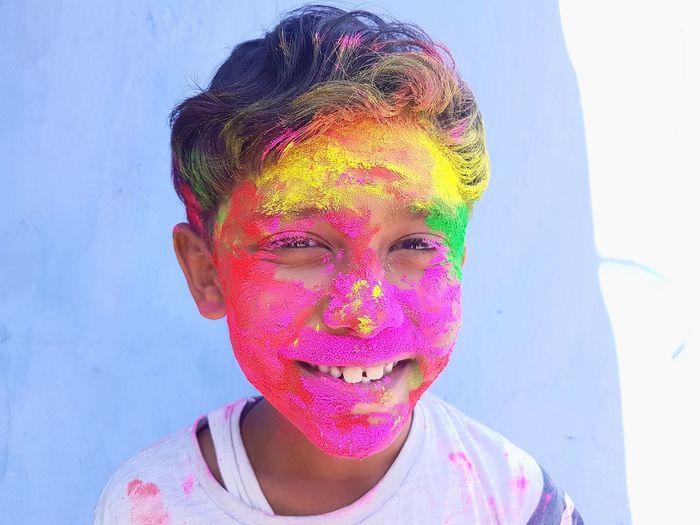 Happy Holi Colour Festival colour of life Smile Teeth Showing