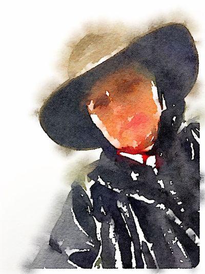 Blurry rain self portrait Blurred Hat Woman Angle Face Nobackground Rain Gear Rain Hat Raincoat Shrimp Thousant Self Portrait Watercolor