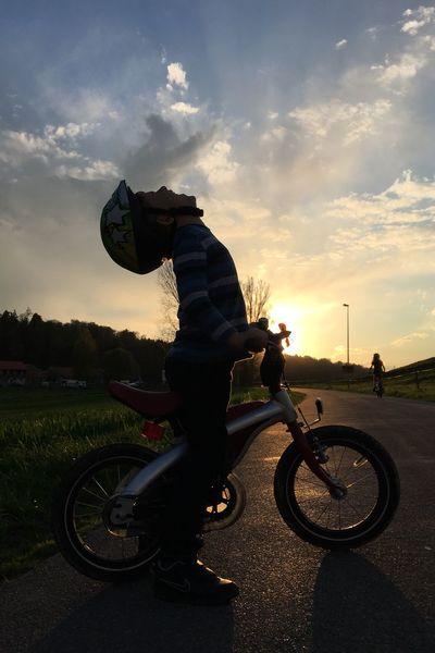 Sunset Sunset_collection Sunset Silhouettes Sunset And Clouds  Silhouette Silhouette_collection Wolf Wolf Howling IPhoneography IPhone 6s Plus Howling At The Moon Kid Bike Bicycle Anger Happiness Proud Achievement Accomplishment I Did It Scream Screaming Boy Bike