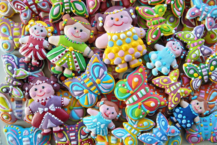 Close-up of multi colored candies for sale in market
