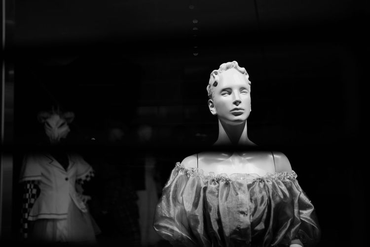 View of mannequin in store