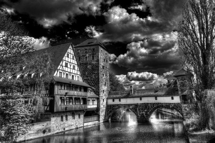 Henkersteg Bavaria Henkersteg Nuremberg Old Town Architecture Covered Bridge Foot Bridge Franconia Germany