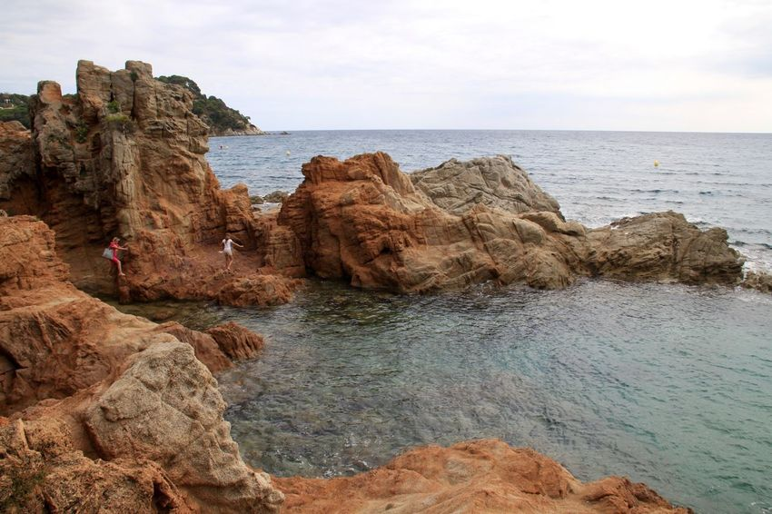 Beach Beauty In Nature Cliff Horizon Over Water Lloret De Mar Nature No People Platja De Fenals Rock - Object Rock Formation Scenics Sea SPAIN Tranquil Scene Tranquility Water