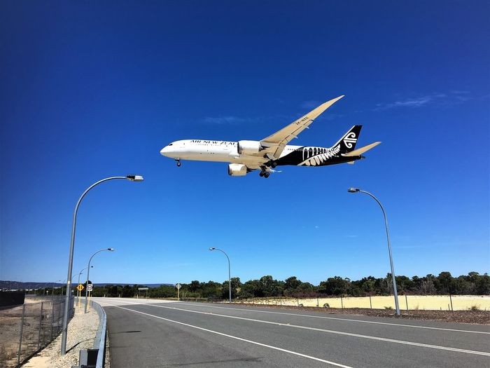 Landing at Perth airport Aeroplane Aerospace Industry Air New Zealand Air Vehicle Aircraft Airplane Airport Runway Blue Boeing Boeing 787 Day Flight Flying Hello World Industry Jet Jet Engine Landing Low Flying No People Outdoors Perth Airport Plane Road Transportation