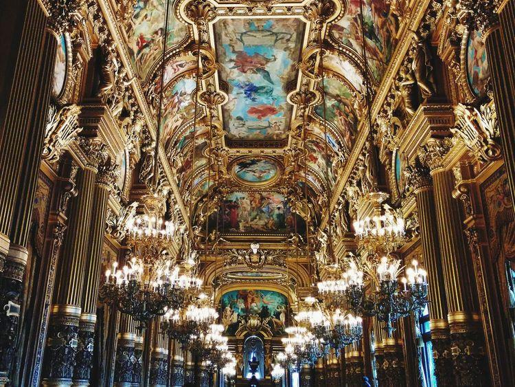 Architectural Column Architectural Feature Art Art And Craft Decoration Golden Human Representation Indoors  Interior Lamps Light Multi Colored Opéra Ornate Paris Ópera De Paris
