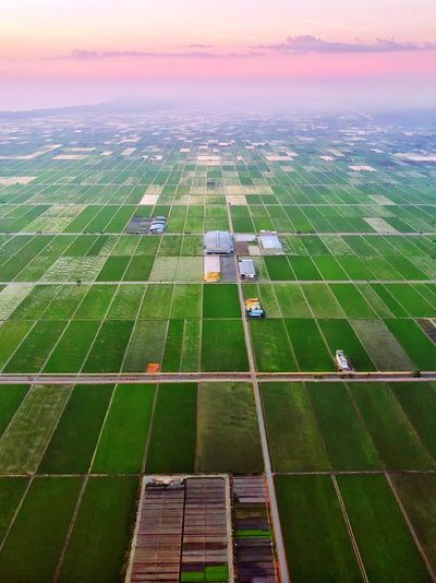 Aerial view of agricultural field against sky during sunset