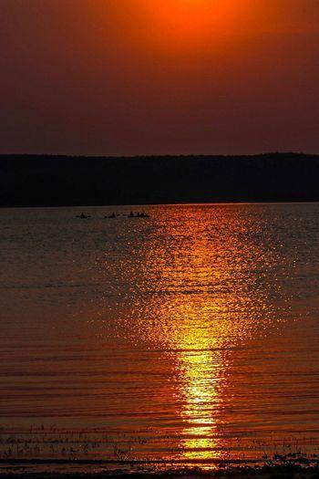 Sunset Water Sea Sky Beauty In Nature Scenics - Nature Horizon Over Water Horizon Orange Color Nature Tranquility Idyllic Tranquil Scene Sunlight Reflection Beach Sun Land Outdoors