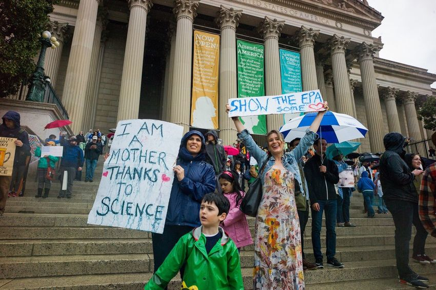 Large Group Of People Protest Politics Banner - Sign Social Issues Politics And Government Democracy Fight Resist Science Washington, D. C. Leicacamera MarchforScience March For Science DC Earthday Rain Women