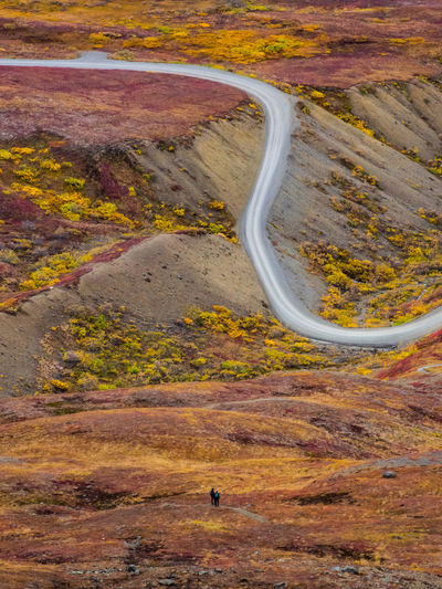 High angle view of winding road on landscape