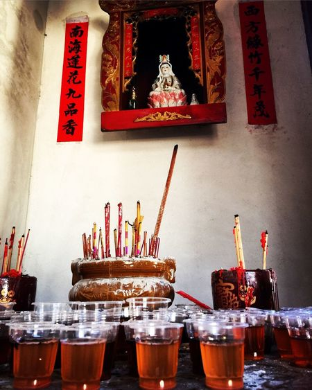 Liquid Lunch Drinks for the Gods Hakka world. Old Chinese Temple