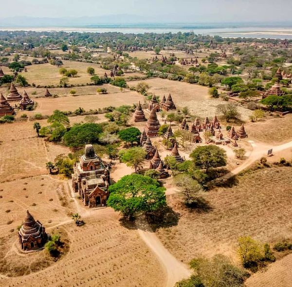 bagan Tree Desert Agriculture Sand Dune Sand Hot Air Balloon High Angle View Sky Landscape