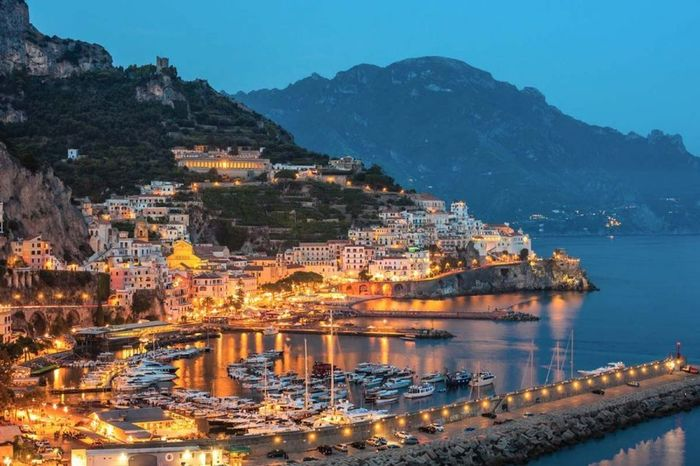 Amalfi Coast Town Water Travel Landscape Mountain Scenics City Architecture Sky Sunset Outdoors Travel Destinations Morning Nature Blue Follow4follow Followback Goodtime Tranquility Goodpicture